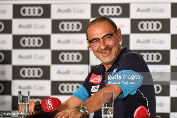 Head coach Maurizio Sarri of SSC Napoli attends the Audi Cup 2017 Press Conference at Westin Grand Hotel on July 31 2017 in Munich Germany