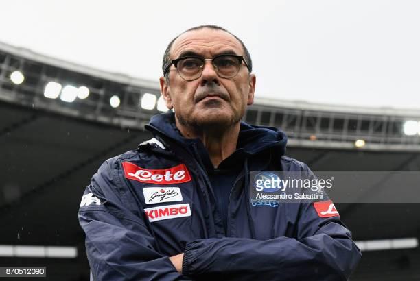 Head coach Maurizio Sarri of SSC Napoli looks on before the Serie A match between AC Chievo Verona and SSC Napoli at Stadio Marc'Antonio Bentegodi on...