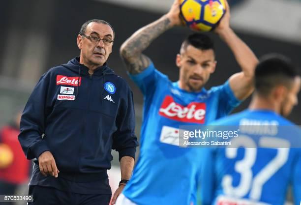 Head coach Maurizio Sarri of SSC Napoli looks on during the Serie A match between AC Chievo Verona and SSC Napoli at Stadio Marc'Antonio Bentegodi on...