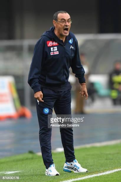 head coach Maurizio Sarri of SSC Napoli reacts during the Serie A match between AC Chievo Verona and SSC Napoli at Stadio Marc'Antonio Bentegodi on...