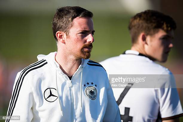 Head Coach Meikel Schonweitz of Germany looks on during the U18 international friendly match between Ireland and Germany on November 13 2016 in Salou...