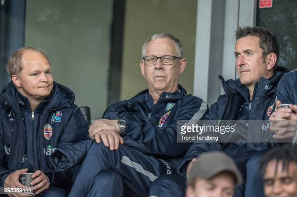 Head Coach Men Lars Lagerback Coach Per Joar Hansen observes the Qualifying Round European Under 21 Championship 2019 between Norway v Kosovo at...