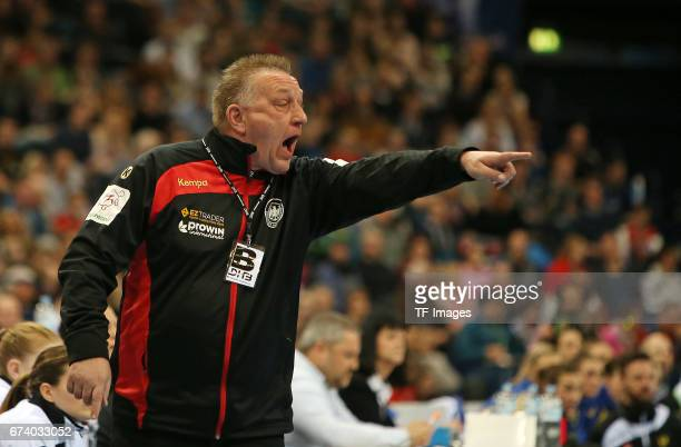 Head coach Michael Biegler of Germany gestures during the match Germany vs Sweden at Barclaycard Arena in Hamburg Germany