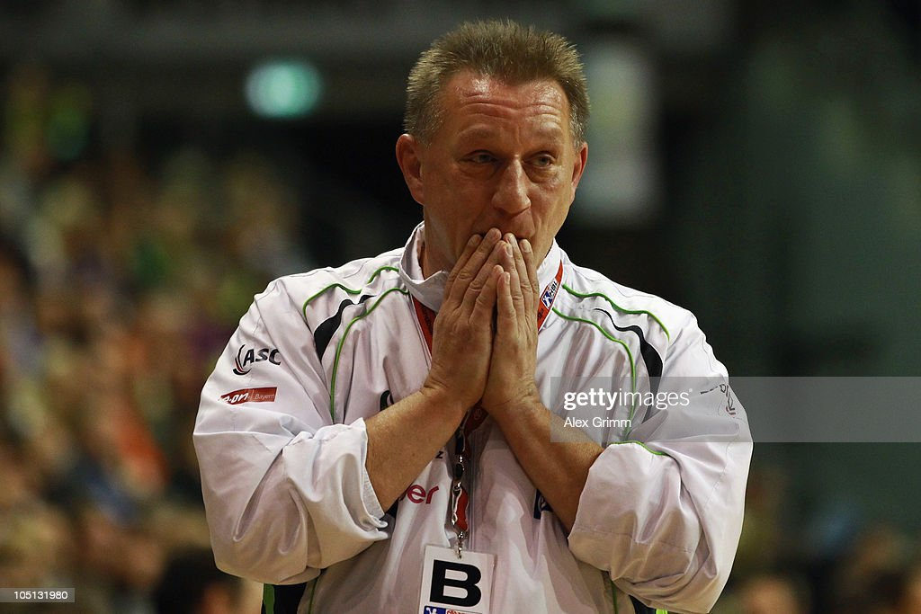 Head coach Michael Biegler of Grosswallstadt reacts c during the Toyota handball Bundesliga match between Fuechse Berlin and TV Grosswallstadt at the...