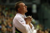 Head coach Michael Biegler of Grosswallstadt reacts c during the Toyota handball Bundesliga match between Fuechse Berlin and TV Grosswallstadt at the...