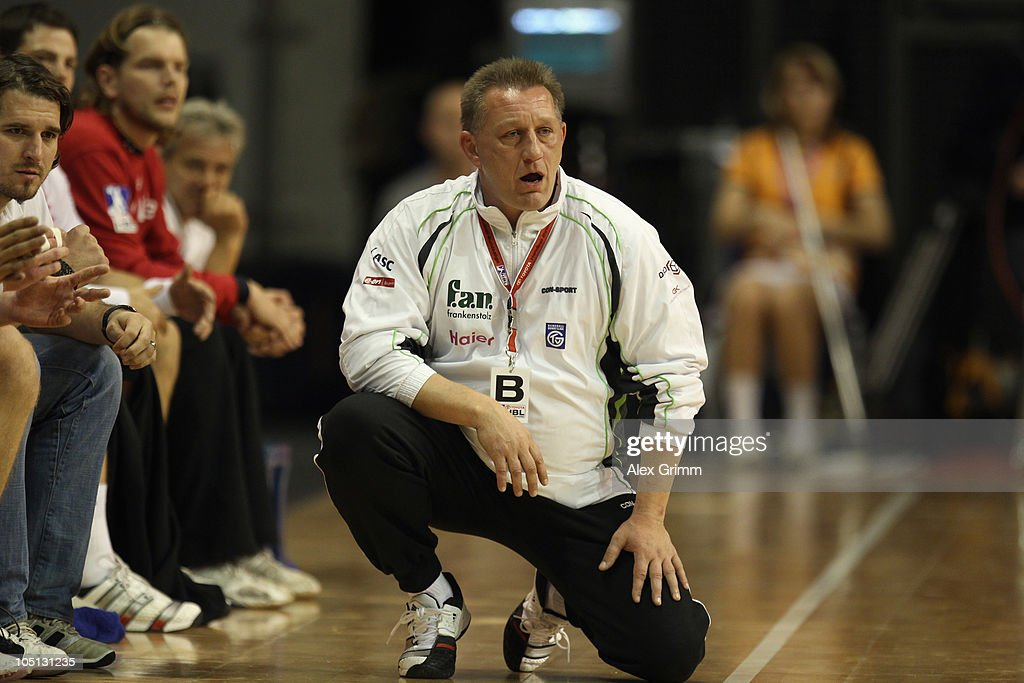 Head coach Michael Biegler of Grosswallstadt reacts during the Toyota handball Bundesliga match between Fuechse Berlin and TV Grosswallstadt at the Max-Schmeling-Halle on October 10, 2010 in Berlin, Germany.