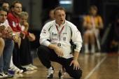 Head coach Michael Biegler of Grosswallstadt reacts during the Toyota handball Bundesliga match between Fuechse Berlin and TV Grosswallstadt at the...