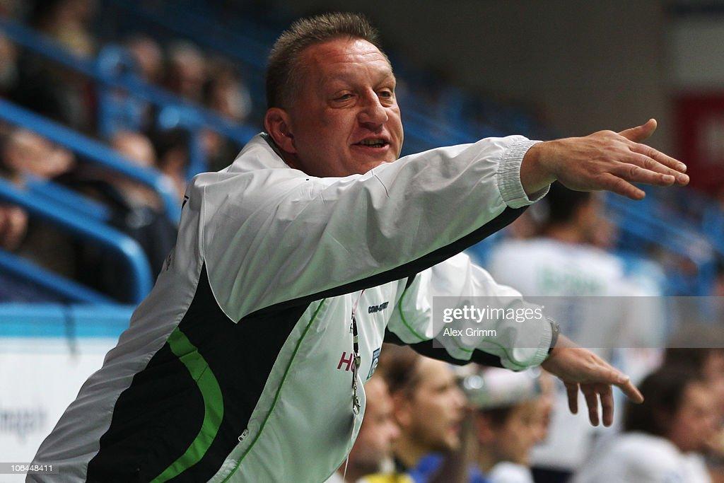 Head coach Michael Biegler of Grosswallstadt reacts during the Toyota Handball Bundesliga match between TV Grosswallstadt and THW Kiel at the Frankenstolz Arena on November 2, 2010 in Aschaffenburg, Germany.