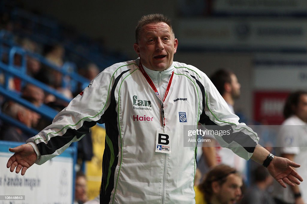 Head coach Michael Biegler of Grosswallstadt reacts during the Toyota Handball Bundesliga match between TV Grosswallstadt and THW Kiel at the Frankenstolz Arena on November 2, 2010 in Aschaffenburg, Germany.