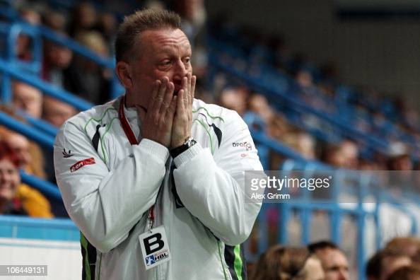 Head coach Michael Biegler of Grosswallstadt reacts during the Toyota Handball Bundesliga match between TV Grosswallstadt and THW Kiel at the...
