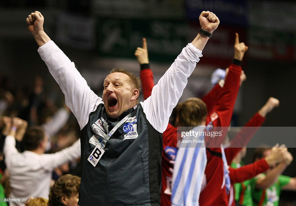 Head coach Michael Biegler of Magdeburg celebrates during the Toyota Handball Bundesliga match between SC Magdeburg and THW Kiel at the Boerdeland hall on February 10, 2009 in Magdeburg, Germany.