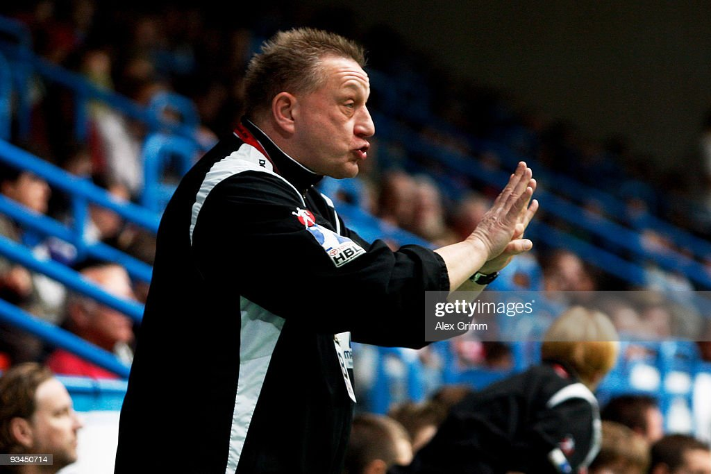 Head coach Michael Biegler of Magdeburg reacts during the Toyota Handball Bundesliga match between TV Grosswallstadt and SC Magdeburg at the f.a.n. frankenstolz arena on November 27, 2009 in Aschaffenburg, Germany.