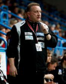 Head coach Michael Biegler of Magdeburg reacts during the Toyota Handball Bundesliga match between TV Grosswallstadt and SC Magdeburg at the fan...