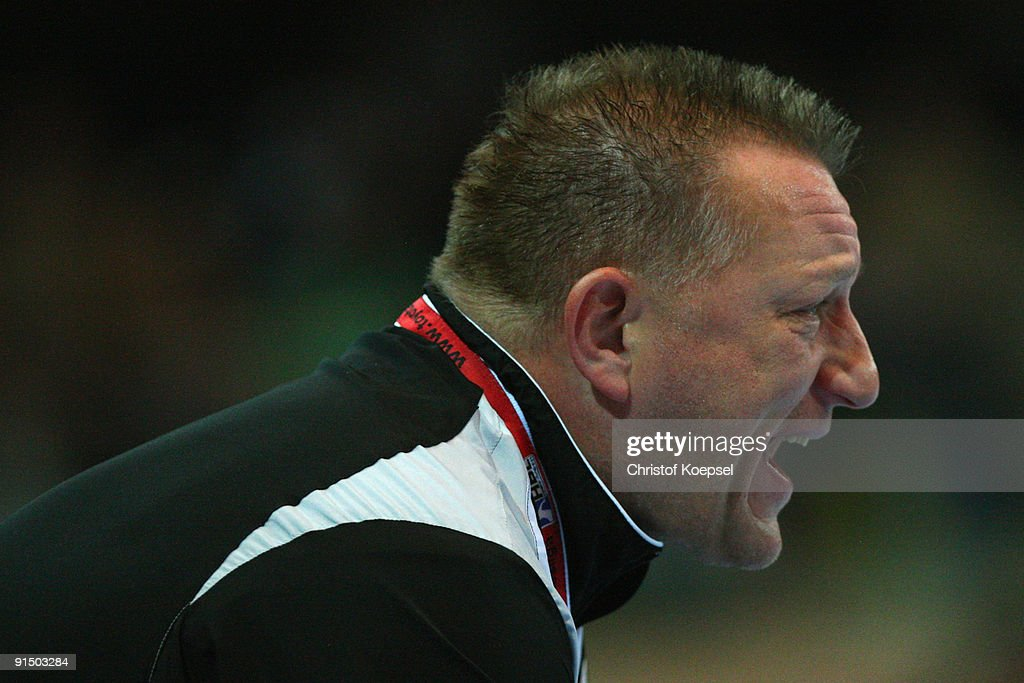 Head coach Michael Biegler of Magdeburg shouts at his team during the Toyota Handball Bundesliga match between HSG Duesseldorf and SC Magdeburg at the Burg-Waechter Castello on October 6, 2009 in Duesseldorf, Germany.