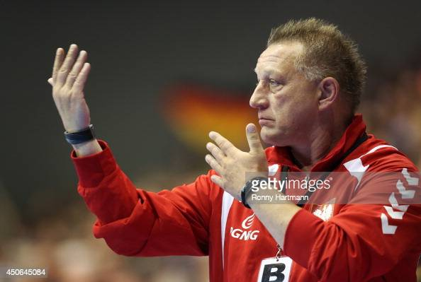 Head coach Michael Biegler of Poland gestures during the IHF World Championship 2015 Playoff Leg Two between Germany and Poland at GetecArena on June...