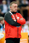 Head coach Michael Biegler of Poland looks dejected during the IHF Men's Handball World Championship group D match between Poland and Germany at...