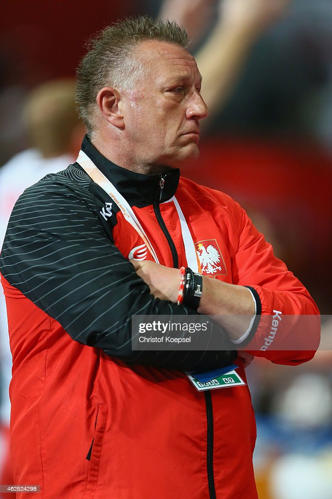 Head coach Michael Biegler of Poland looks dejected during the semi final match between Poland v Qatar during the Men's Handball World Championship...