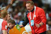 Head coach Michael Biegler of Poland looks dejected during the semi final match between Poland v Qatar during the Men's Handball World Championship...