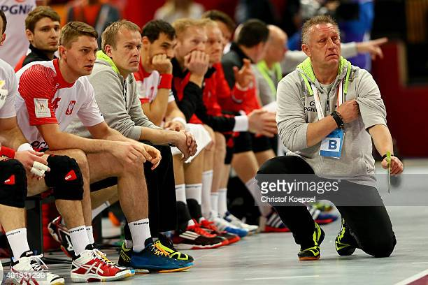 Head coach Michael Biegler of Poland looks thoughtful during the IHF Men's Handball World Championship group D match between Poland and Russia at...