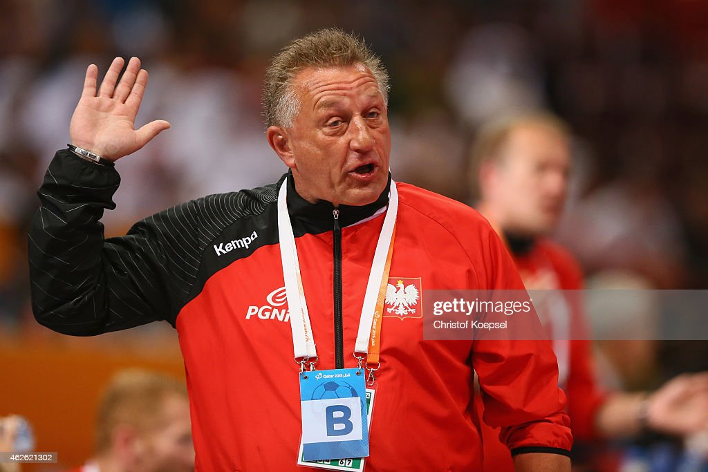 Head coach <a gi-track='captionPersonalityLinkClicked' href=/galleries/search?phrase=Michael+Biegler&family=editorial&specificpeople=2506225 ng-click='$event.stopPropagation()'>Michael Biegler</a> of Poland looks thoughtful during the third place match between Poland and Spain in the Men's Handball World Championship at Lusail Multipurpose Hall on February 1, 2015 in Doha, Qatar.