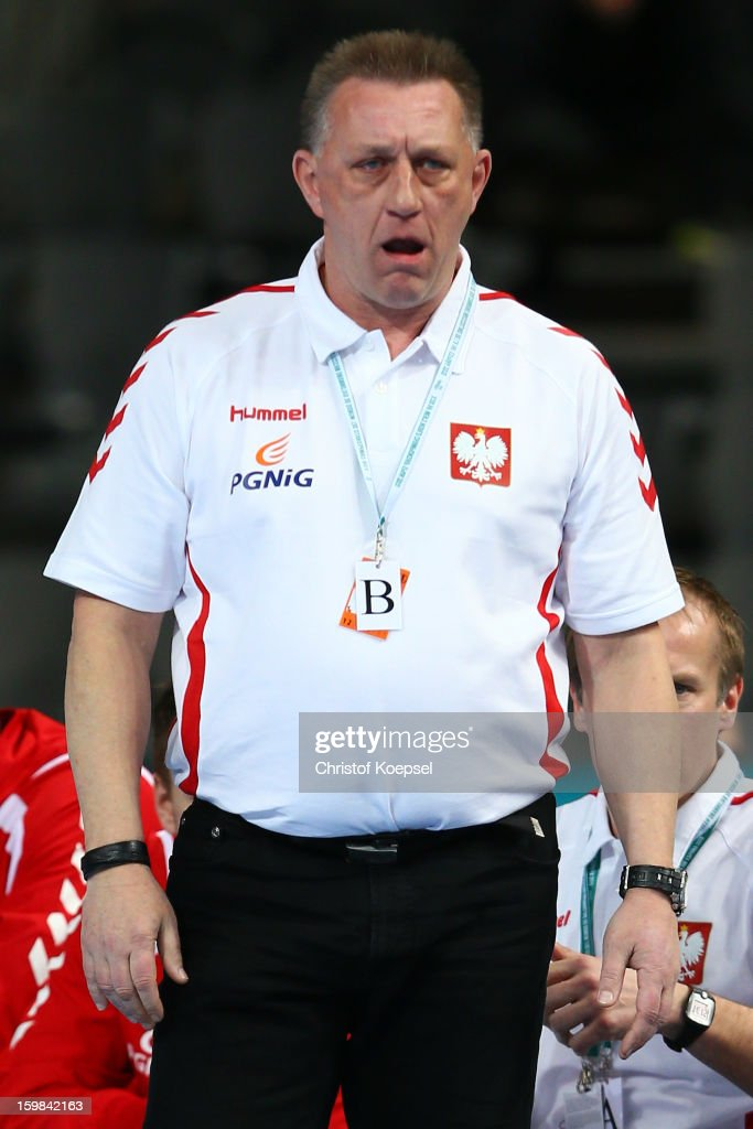 Head coach Michael Biegler of Poland shoutsduring the round of sixteen match between Hungary and Poland at Palau Sant Jordi on January 21 2013 in...