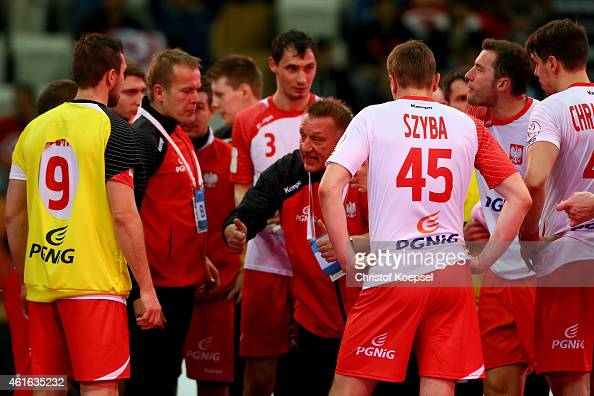 Head coach Michael Biegler of Poland speaks to the team during the IHF Men's Handball World Championship group D match between Poland and Germany at...