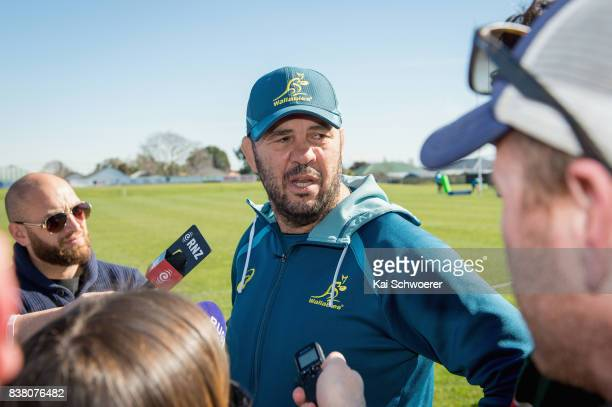 Head Coach Michael Cheika speaks to the media following an Australian Wallabies training session at Linwood Rugby Club on August 24 2017 in...