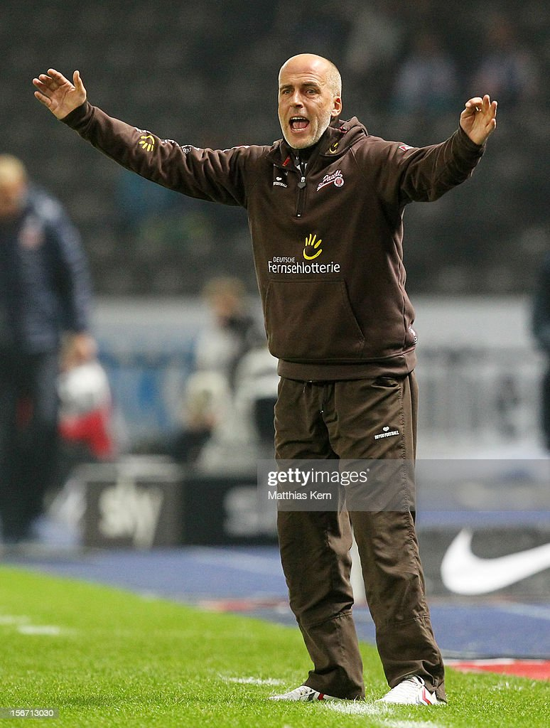Head coach <a gi-track='captionPersonalityLinkClicked' href=/galleries/search?phrase=Michael+Frontzeck&family=editorial&specificpeople=2167828 ng-click='$event.stopPropagation()'>Michael Frontzeck</a> of St. Pauli gestures during the Second Bundesliga match between Hertha BSC Berlin and FC St. Pauli at Olympic stadium on November 19, 2012 in Berlin, Germany.