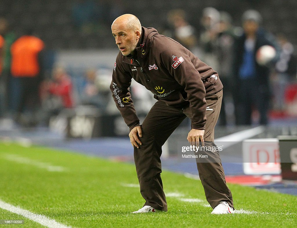 Head coach <a gi-track='captionPersonalityLinkClicked' href=/galleries/search?phrase=Michael+Frontzeck&family=editorial&specificpeople=2167828 ng-click='$event.stopPropagation()'>Michael Frontzeck</a> of St. Pauli looks on during the Second Bundesliga match between Hertha BSC Berlin and FC St. Pauli at Olympic stadium on November 19, 2012 in Berlin, Germany.
