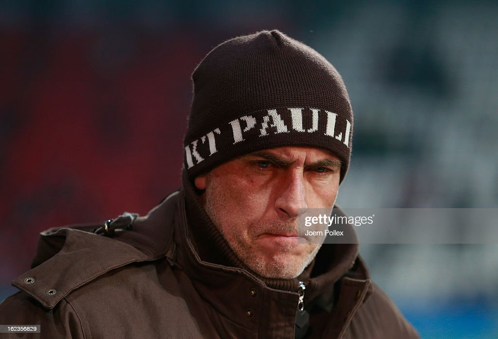 Head coach Michael Frontzeck of St. Pauli looks on prior to the Second Bundesliga match between 1. FC St. Pauli and FSV Frankfurt 1899 at Millerntor Stadium on February 22, 2013 in Hamburg, Germany.