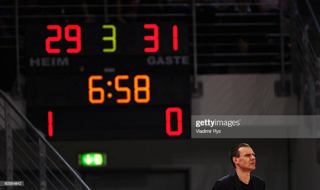Head coach Michael Koch of Baskets looks on during the Beko Basketball Bundesliga game between Telekom Baskets and Alba Berlin at Telekom Dome on...