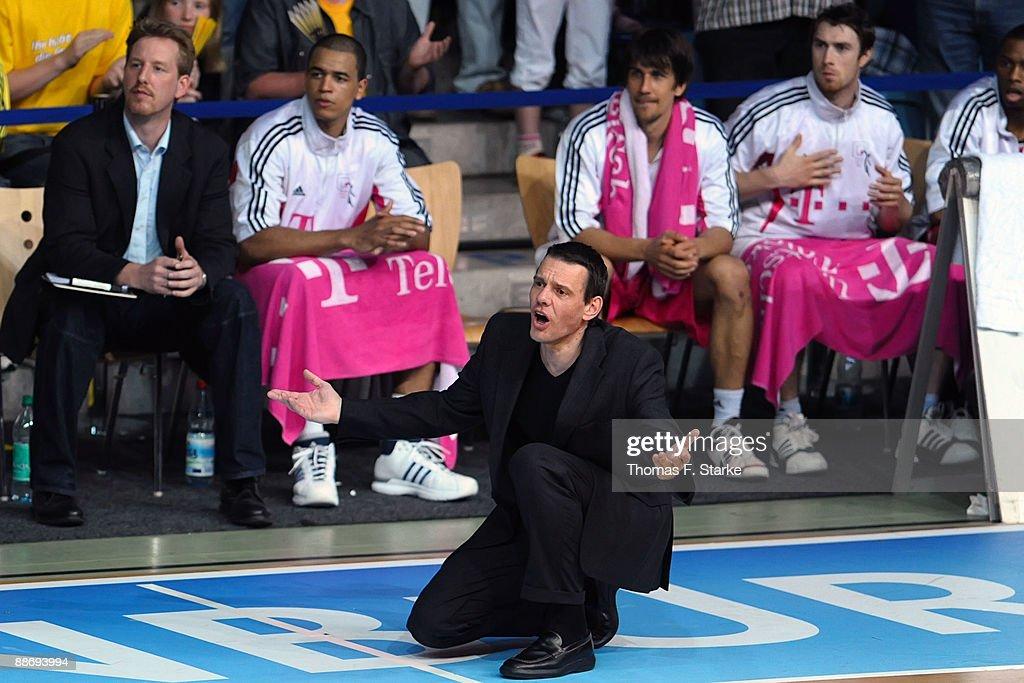 Head coach Michael Koch of Bonn looks dejected during the Basketball Bundesliga PlayOff match between EWE Baskets Oldenburg and Telekom Baskets Bonn...