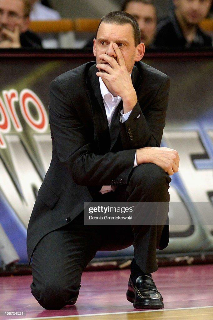 Head coach Michael Koch of Bonn reacts during the Beko BBL Basketball Bundesliga match between Telekom Baskets Bonn and WALTER Tigers Tuebingen at...