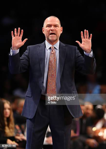 Head Coach Michael Malone of the Denver Nuggets argues a call during their game against the Brooklyn Nets at Barclays Center on December 7 2016 in...