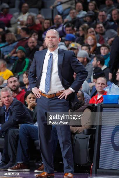 Head coach Michael Malone of the Denver Nuggets coaches against the Sacramento Kings on February 23 2017 at Golden 1 Center in Sacramento California...