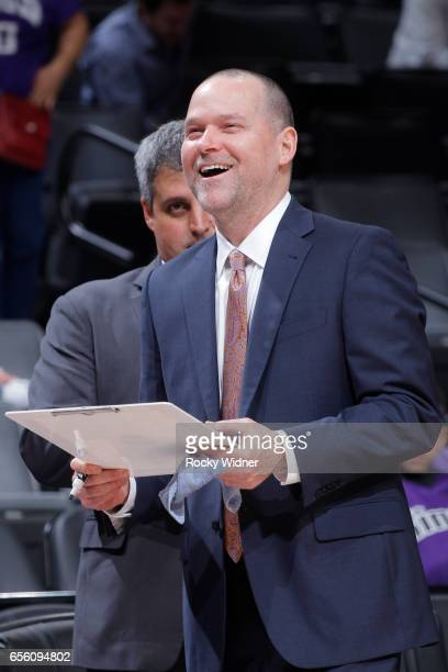 Head coach Michael Malone of the Denver Nuggets coaches against the Sacramento Kings on March 11 2017 at Golden 1 Center in Sacramento California...