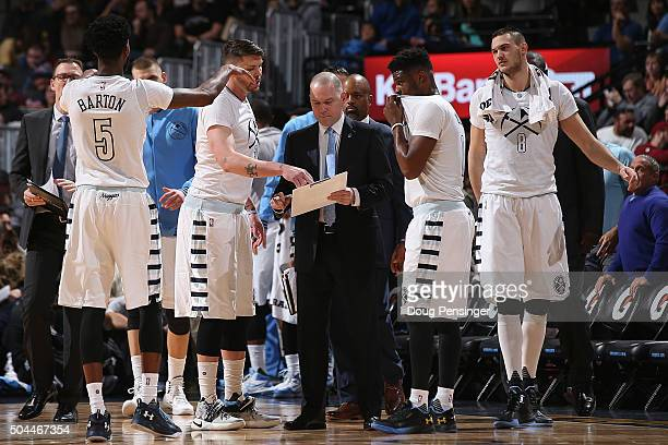 Head coach Michael Malone of the Denver Nuggets directs the team during a time out against the Charlotte Hornets at Pepsi Center on January 10 2016...