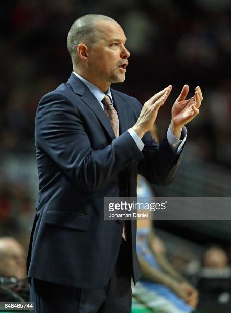 Head coach Michael Malone of the Denver Nuggets encourages his team against the Chicago Bulls at the United Center on February 28 2017 in Chicago...