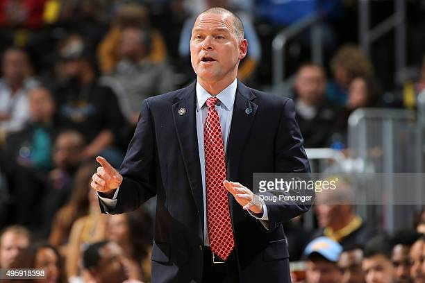 Head coach Michael Malone of the Denver Nuggets leads his team against the Utah Jazz at Pepsi Center on November 5 2015 in Denver Colorado NOTE TO...