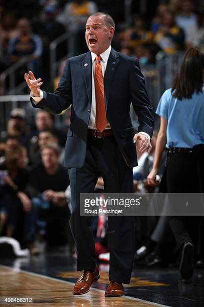 Head coach Michael Malone of the Denver Nuggets leads his team against the Portland Trail Blazers at Pepsi Center on November 9 2015 in Denver...
