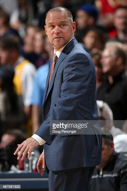 Head coach Michael Malone of the Denver Nuggets leads his team against the Houston Rockets at Pepsi Center on November 13 2015 in Denver Colorado The...