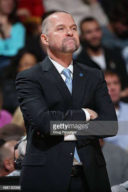 Head coach Michael Malone of the Denver Nuggets leads his team against the Phoenix Suns at Pepsi Center on November 20 2015 in Denver Colorado The...