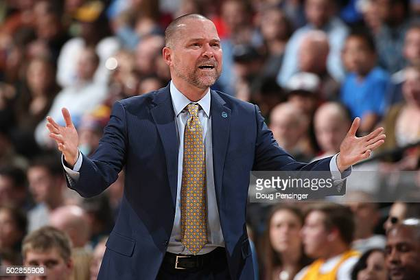 Head coach Michael Malone of the Denver Nuggets leads his team against the Cleveland Cavaliers at Pepsi Center on December 29 2015 in Denver Colorado...