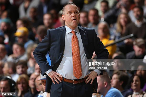 Head coach Michael Malone of the Denver Nuggets leads his team against the Oklahoma City Thunder at Pepsi Center on January 19 2016 in Denver...