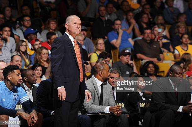 Head coach Michael Malone of the Denver Nuggets looks on during a preseason game against the Chicago Bulls on October 8 2015 at the Coors Event...