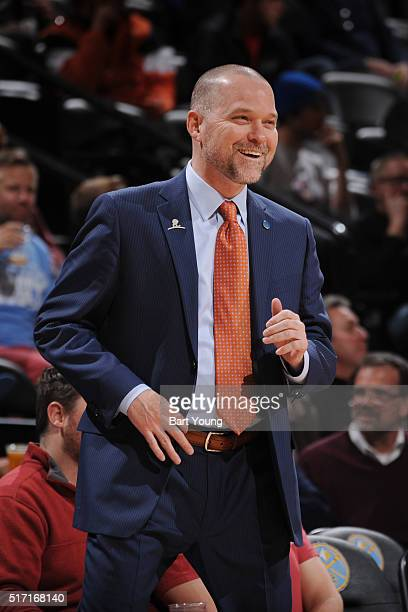 Head coach Michael Malone of the Denver Nuggets looks on during the game against the Philadelphia 76ers on March 23 2016 at the Pepsi Center in...
