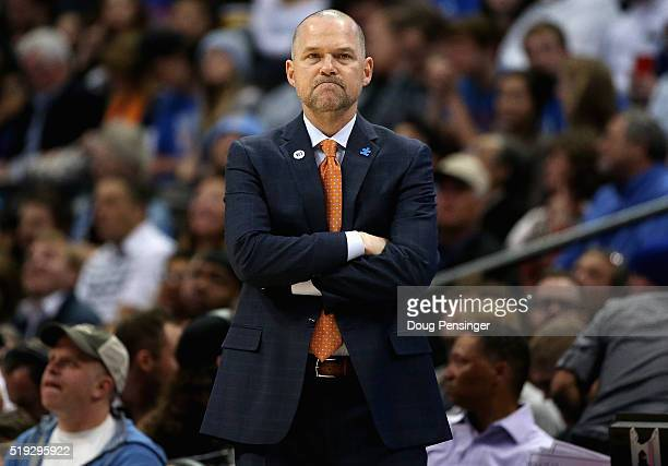 Head coach Michael Malone of the Denver Nuggets looks on has he leads his team against the Oklahoma City Thunder at Pepsi Center on April 5 2016 in...