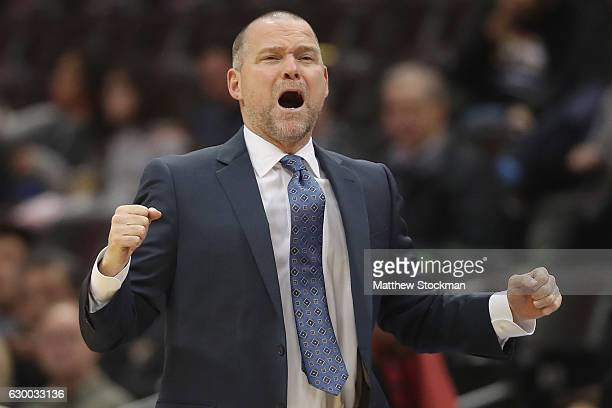 Head coach Michael Malone of the Denver Nuggets reacts on the sidelines as his team plays the Portland Trail Blazers at the Pepsi Center on December...
