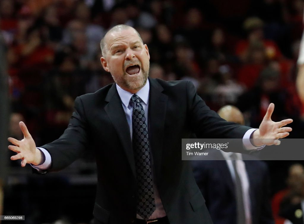 Head coach Michael Malone of the Denver Nuggets reacts to a call in the first half against the Houston Rockets at Toyota Center on April 5, 2017 in Houston, Texas.