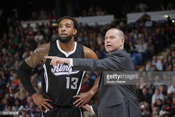 Head coach Michael Malone of the Sacramento Kings coaches Derrick Williams against the Chicago Bulls on November 20 2014 at Sleep Train Arena in...